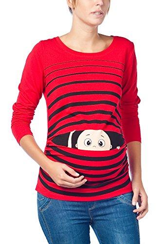 Vêtement de Maternité Humoristique T-Shirt Mignon à Motifs Cadeau pour Grossesse Femme Humour Tee Haut Vetement de Maternite à Manches Longues (Rouge, Medium)