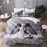 RUBEITA Juego de Ropa de Cama,Mujer de fantasía con alas de ángel Oscuro Rezando Mientras está Sentado en el rocío del mar Durante la tormenta,1 Funda Nórdica y 2 Funda de Almohada (Cama 220x240)