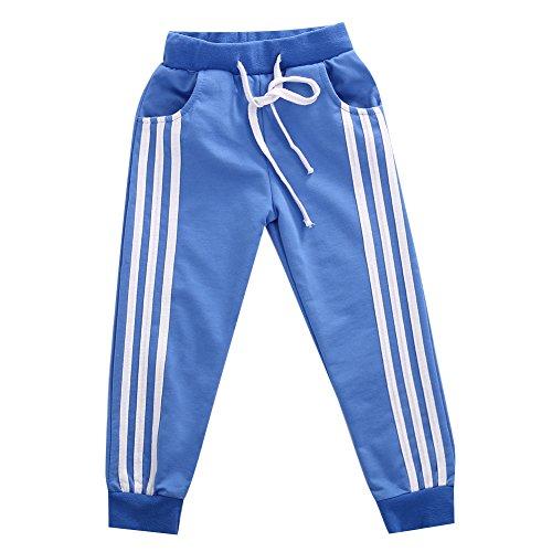 jsadfojas Pantalon de sport pour enfants - Style décontracté - Motif à rayures - Unisexe - Bleu - 5 - 6 ans