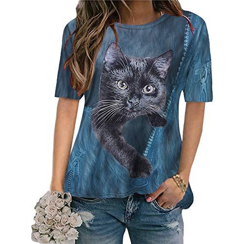 Proumy Damen Kurzarm T-Shirt mit Katze Aufdruck Sommer Casual 3D Drucken Oversize Bluse Tee Shirt Vintage Lässig Rundhals Lose Oberteile Tops(Blau,XXXXXL)