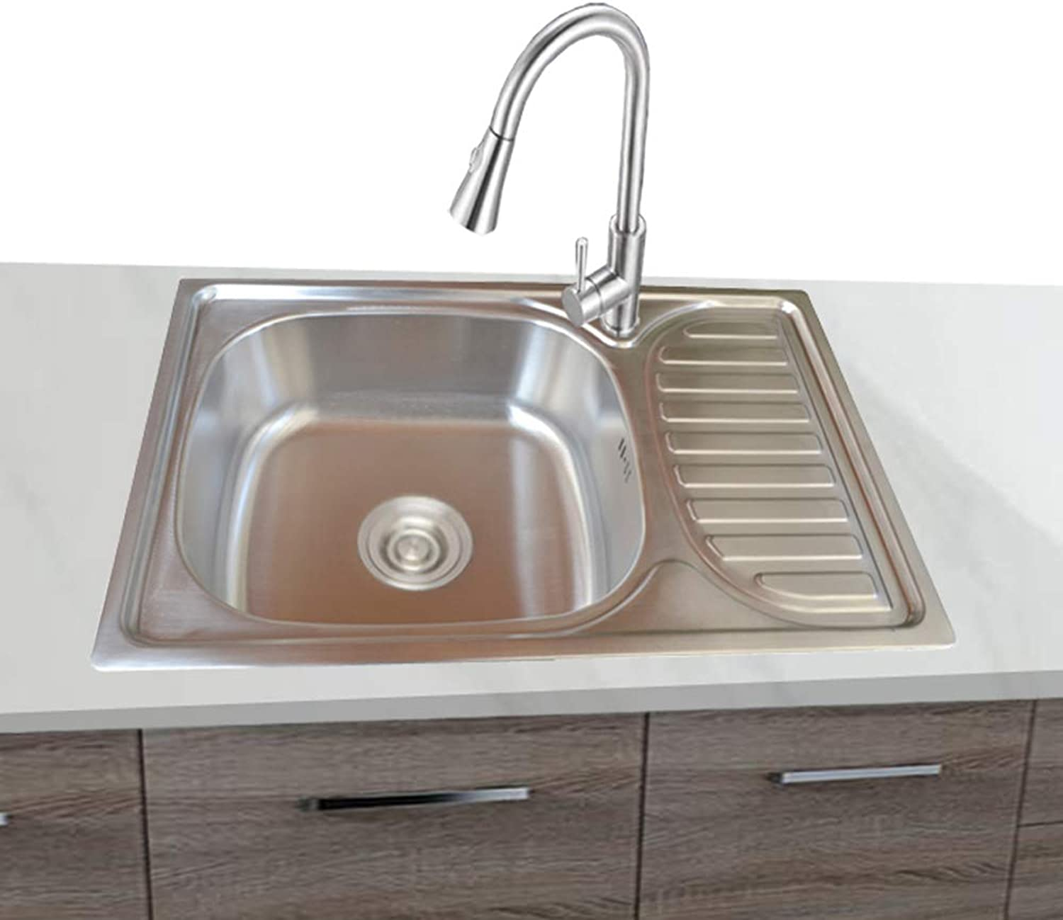 1 x Built-in Sink Stainless Steel 304 Square, 1 Basin with Shelf Right Sink 65 cm L 42 cm B