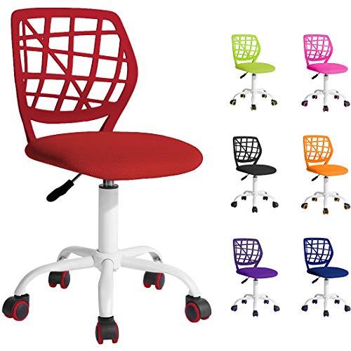 BELTOM Silla de Escritorio para niñas Niños Youth. Silla ergonómica giratoria a 360°. Ajustable en Altura para el hogar y la Oficina. Sin apoyabrazos con Respaldo - Rojo