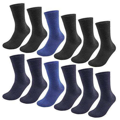 QINCAO Socken Herren Damen 12 Paar Sport Schwarz Baumwolle Lange Komfortbund Socks(Schwarz ×5+Blau Grün ×5 +Navy Blau ×2, 39-42)