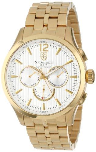 S.Coifman SC0127 Orologio da Polso, Display Cronografo, Uomo, Bracciale Rivestito in Acciaio Inox, Oro