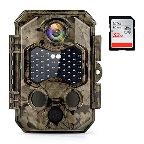 COOLIFE Cámaras de Caza 32MP 4K Velocidad de Disparo 0.2s Nocturna IP66 Impermeable Cámara de Fototrampeo con Detección de Acción 45 pcs IR Leds Invisibles de Luz Infrarroja Admite hasta 512G