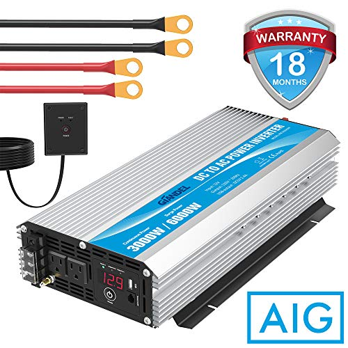 Modified Sine Wave Power Inverter 3000 Watt DC12 Volt to AC 120 Volt with Remote Control and LED Display Dual AC Outlets & USB Port for RV Truck Boat by GIANDEL