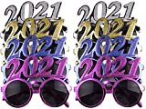 8 Pack of 2021 New Years Eve Party Glasses (Solid Metallic)
