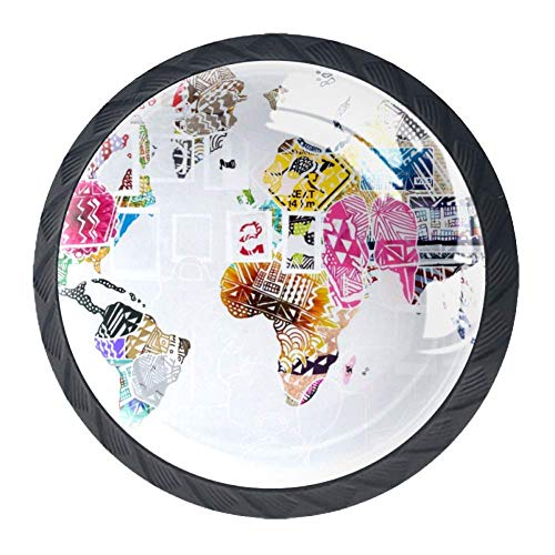 Mehrfarbige Grunge USA Karte [4 Stuck] Küchenknöpfe - Türknopf Knauf für Schrank, Schubladenknopf, Türknäufe, Möbelknopf