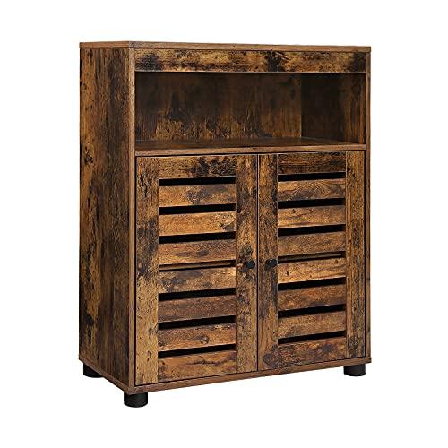 VASAGLE Muebles de Baño, Armario 4 Niveles, Estantería Rústica, 60