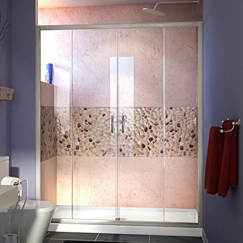 Visions 36 in. D x 60 in. W x 74 3/4 in. H Sliding Shower Door in Brushed Nickel with Center Drain White Shower Base - DreamLine DL-6963C-04CL