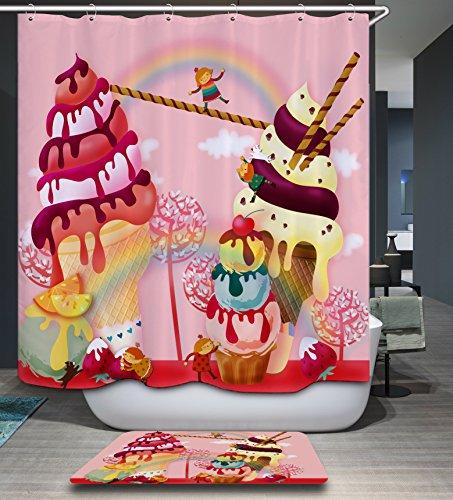 Kisy Rose Sweet chocolats Fruits Sundae Tissu de bain Rideau de douche anti Moule hydrofuge à séchage rapide 180 cm x 180 cm pour salle de bain avec 12 crochets de plastique