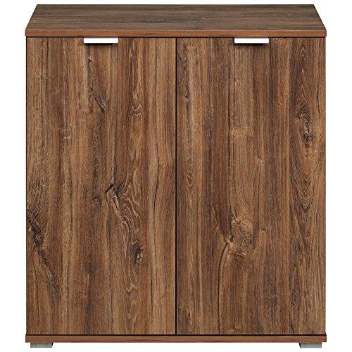 Mobiletto/credenza/armadietto moderno in legno, ampia capienza con vari scomparti e ripiani–rovere bianco, dark oak, Type 110