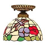 Plafón Tiffany - Lámpara de techo de cristal multicolor barroco estilo mediterráneo Libellula para pasillo, balcón, cocina, dormitorio, entrada E27, 20 x 20 cm