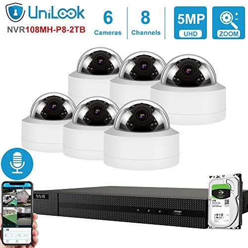 Buy UniLook 5MP 8CH IP PoE Security Camera System, 6 Outdoor IP66 Weatherproof 2.8-12mm 4X Varifocal...