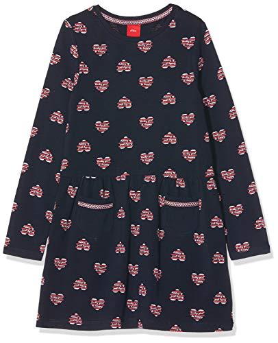 s.Oliver Mädchen 53.909.82.3001 Kleid, Blau (Dark Blue AOP 59a1), 110 (Herstellergröße: 110/REG)