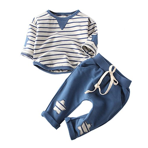 Bébé Ensembles, LuckyGirls Ensembles Pantalons Et Haut Enfant Garçon d'automne Mode Rayures Imprimé T-Shirt Manches Longues Et Pantalon-Coton- 0~48 Mois (Âge: 6~12 Mois, Bleu)