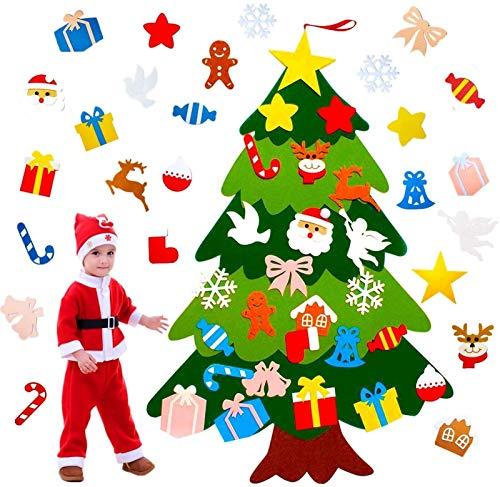 VieVogue Árbol de Navidad de Fieltro, 3ft Bricolaje árbol de Navidad de Fieltro con 25 Adornos Desmontables año niños de Pared de Puerta Decoración Colgante