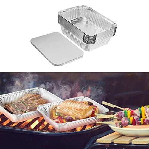 Bandejas de Aluminio Desechables, papel de aluminio, 30 piezas, bandejas redondas de comida desechables de 1000 ml para barbacoa, horneado, envasado de alimentos