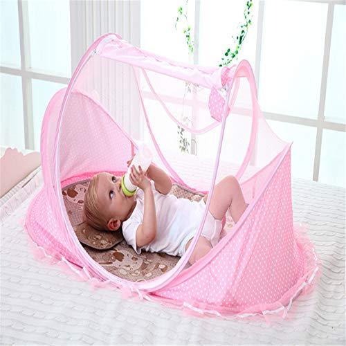 GONG Tragbares Baby-Reisebett, Faltbares Kinderbett Im Freien, Mit Moskitonetz, Mit Matratze, Geeignet Für 0-3 Jahre,Rosa