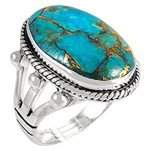 Turquoise Ring in Sterling Silver 925 & Genuine Turquoise Size 6 to 12 (CHOOSE STYLE) (Classic, 8)