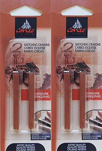 Conté à Paris Sanguine Sketching Crayons, 4 pc Set, Bundle of Artist Quality Crayons