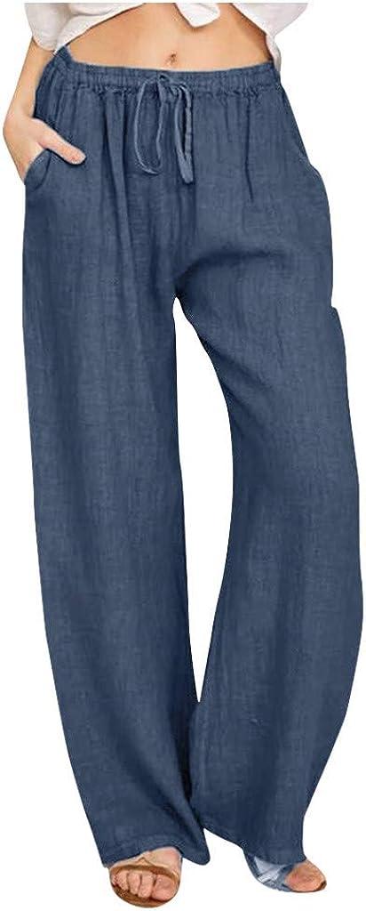 FUNEY Womens Casual Loose Elastic Waist Cotton Trouser Cropped Wide Leg Pants Solid Color Linen Drawstring Long Pants