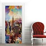 CUISAI Pegatinas De Puerta 3D Autoadhesivo 80X200cm Ciudad moderna color de construcción DIY Papel autoadhesivo Mural etiqueta Papel tapiz para el dormitorio calcomanía de la puerta de la casa