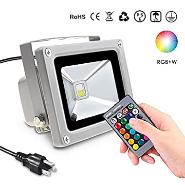 SHEKAR 10W RGBW LED Flood Light, IP65 Waterproof LED Security Light for Outdoor and Indoor, 6 Colors & 4 Modes with Remote Control, Dimmable Wall Washer Light, Stage Lighting with US 3-Plug