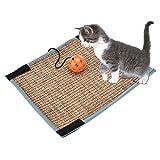 Sue Supply - Alfombrilla rascadora para gatos de sisal natural, antideslizante, almohadilla de peluche al reverso ideal como cama para mascotas