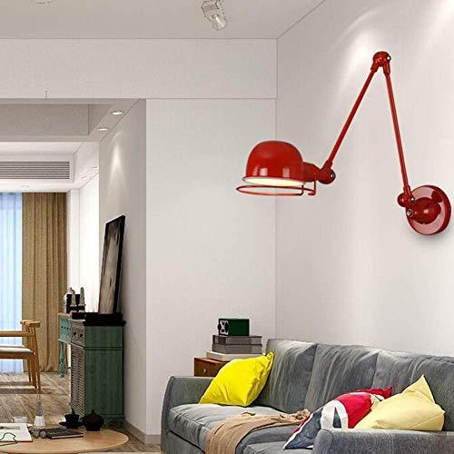 W-LI Wandleuchte aus Metall mit Verstellbarem Kopf Nordic Hardwired Wandleuchten Wandhalterung Wandleuchte für Bar Kaffee Schlafzimmer, Rot