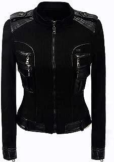 DISSA P2458 Women Faux Leather Cropped Jacket Slim Coat Leather Jacket