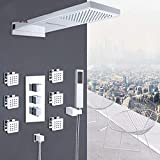 Gnailur Chrome Thermostatic Ducha Faucets Set Lluvia Cascada Ducha 6 unids SPA Jets Termostático de 4 vías Kit de ducha de baño
