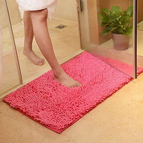 FRGTHYJ Schlafzimmer Küche Wohnzimmer Teppich Mikrofaser Badezimmertür rutschfeste Bodenmatte, rosarot, 45 * 70