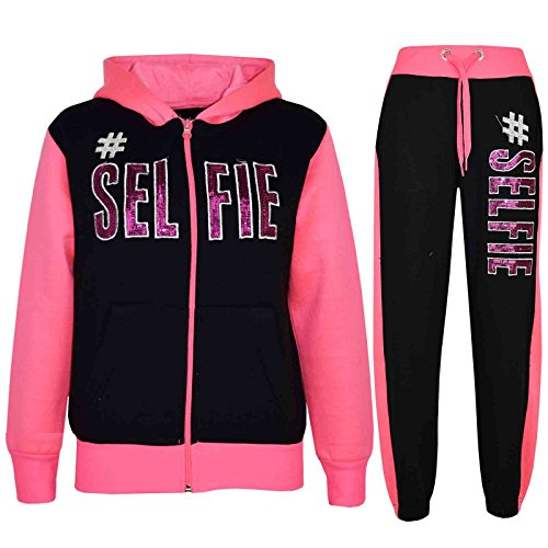 A2Z 4 Kids® Kinder Mädchen Jungen Designer - T.S #SELFIE Black & Neon Pink 5-6