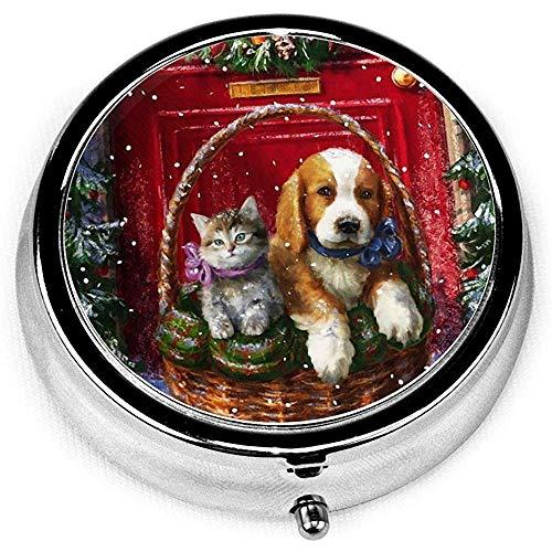Cestini per cani e gatti per la scatola della pillola rotonda della medicina della scatola della pillola della tasca della pillola della novità dell'annata di Natale per il regalo unico della borsa