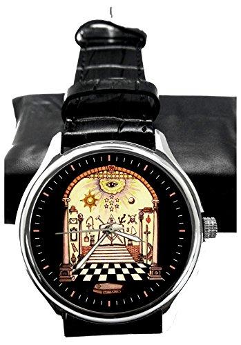 Fantastico orologio da polso da collezione con quadrante seppia massonica del XVII secolo, 40 mm