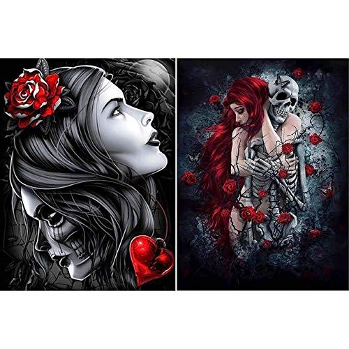 Bimkole 2 Pack 5d Diamond Painting Kit Bricolaje Arte Belleza Esqueleto, Mujer Rosa Pintura Diamantes Kits Estampados De Punto De Cruz Diamantes de Imitación Decoración de Pared, (30x40 cm)