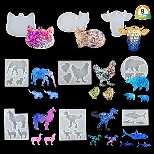 LETS RESIN Animal Keychain Silicone Molds 9PCS Shiny Resin Molds, Keychain Molds for Epoxy, with Bear, Llama, Cat, Hen,Dinosaur,Shark,Elephant,Bull Head Shape