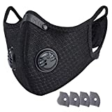 Dust_Masks with 4 Filters Reusable Respirators Unisex Mouth_Mask Adjustable for Allergies Woodworking Running Sanding Mowing-Black