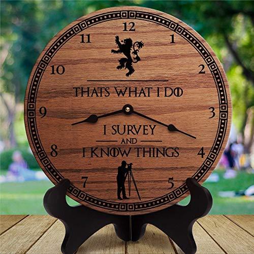 Thats What I Do Survey And Know Things Reloj de pared redondo de madera, citas para encuestas de su esposa him, reloj de pared redondo de madera colgante para sala de estar, cocina, cama
