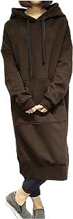 [ワン アンブ] 【在庫限り】ルームウェア パーカー ワンピース フード付き カジュアル ロング丈 スウェット 普段着 春 秋 冬 M ~ XL レディース