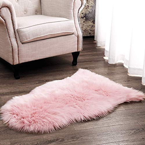XUDAKJ Faux Lammfell Schaffell Teppich,Flauschig Weiche Nachahmung Wolle Teppich Longhair Fell Nachahmung Wolle Bettvorleger Sofa Matte (L Rosa, 90 x 60 cm)