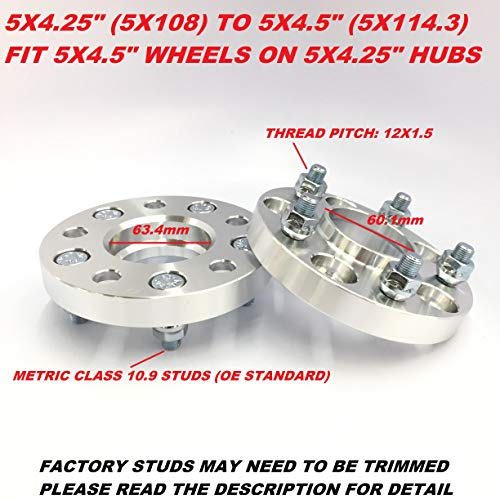 2 Pieces 0.787' 20mm Hub Centric Wheel Spacers Adapters (CHANGE BOLT PATTERN) 5x108 to 5x114.3 5x4.5' Center Bore 63.4mm to 60.1mm 12x1.5 Studs Fits Jaguar Ford Allow 5x108 Hubs to Use 5x114.3 Wheel