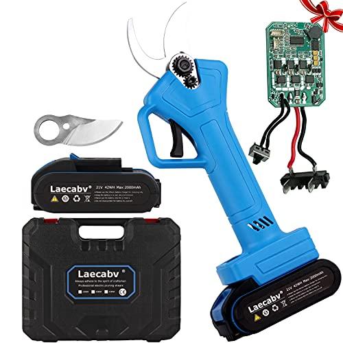 Laecabv Forbici Potatura Elettriche, LCD Display del livello batteria & Numero di tagli, 25mm Cesoie elettriche con 2 Batteria, Regalare Scheda di controllo da 33mm, per Giardino Ulivi Albero vigneto
