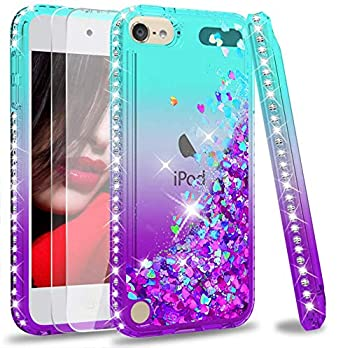 iPod Touch 7 Case iPod Touch 6 Case iPod Touch 5 Case with Tempered Glass Screen Protector [2 Pack] for Girls LeYi Glitter Liquid Clear Phone Case  Teal/Purple