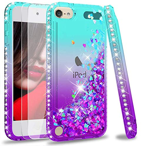 iPod Touch 7 Case, iPod Touch 6 Case, iPod Touch 5 Case with Tempered Glass Screen Protector [2 Pack] for Girls, LeYi Glitter Liquid Clear Phone Case (Teal/Purple)