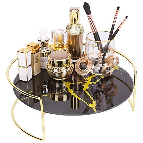 Make-up Organizer Tablett, dekorative Glas Vanity Parfüm Tablett, kreative kosmetische Aufbewahrung für Kommode, Badezimmertheke und Couchtisch, 11,4