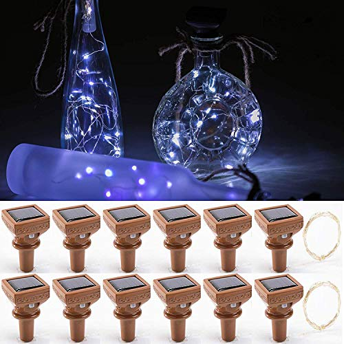 Upgraded 12 Pack Solar Wine Bottle Lights,20 LED Starry Cork Lights Solar Operated Mini Copper String Lights for Wine Bottles with Cork Christmas,Outdoor,Wedding Decor(Cool White)