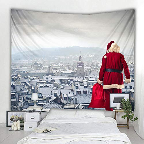 Tapestry Christmas Santa Claus Gifts Elk Snow White Tapestry Yoga Mat Snowman Background Cloth Bedside Decorations Can Be Used For Indoor Bedroom Party Decoration Holiday Gifts