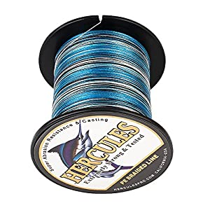 HERCULES Super Strong 1000M 1094 Yards Braided Fishing Line 20 LB Test for Saltwater Freshwater PE Braid Fish Lines 4 Strands - Blue Camo, 20LB (9.1KG), 0.20MM